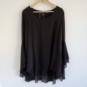 Symple NYC Black Ruffle Bell Sleeve Tunic Blouse